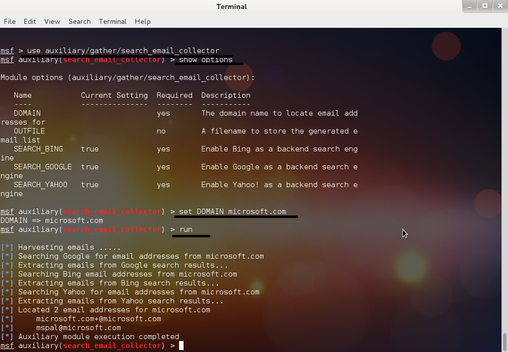 How to use Metasploit to extract emails | Singh Gurjot