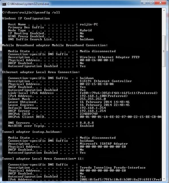 Details of IPCONFIG command in windows | Singh Gurjot